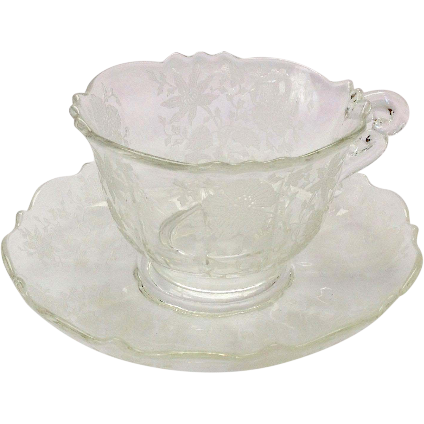 Cambridge Glass Wildflower Etched #3900 Crystal Cup and Saucer