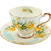 Tuscan Bone China March's Daffodil Birthday Flower Series Teacup and Saucer