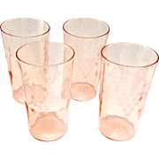 Standard Glass Grape Cut 236 Pink Depression Glass Tumblers Set of Four