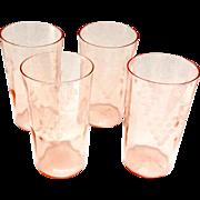 Standard Glass Grape Cut 236 Pink Depression Glass Tumblers Set of Four