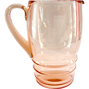 Dunbar Flint Pink Depression Glass Wheel Cut Water Pitcher