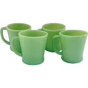 Hocking Fire King Jade-ite D-Handled Glass Mugs Set of Four