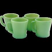 Hocking Fire King Jade-ite D-Handled Glass Mugs Set of Four