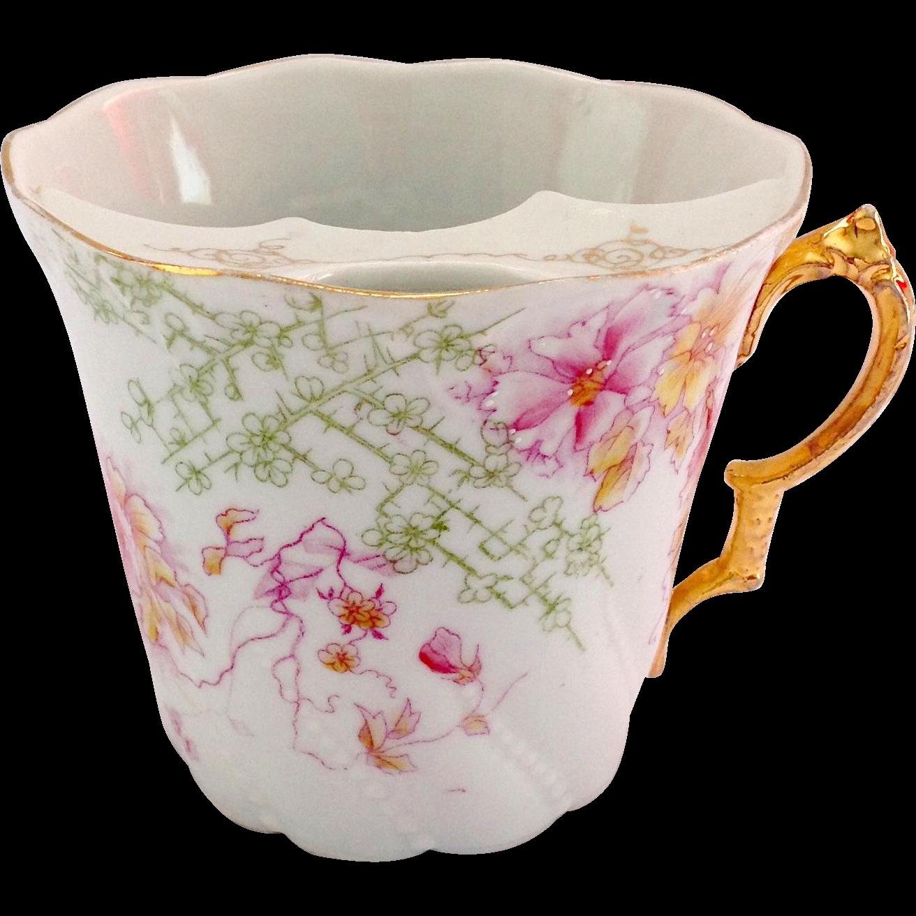 Porcelain Mustache Cup Pink Florals Circa Late 1800s