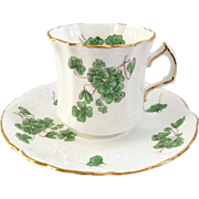 Hammersley Bone China England Lucky Shamrock Teacup and Saucer