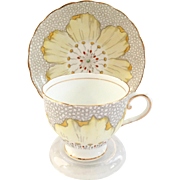 Tuscan Bone China Large Yellow Flower C5937 Teacup and Saucer with Gray Cobblestone Ground