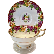 Paragon Bone China Spring Melody Purple Floral Teacup and Saucer