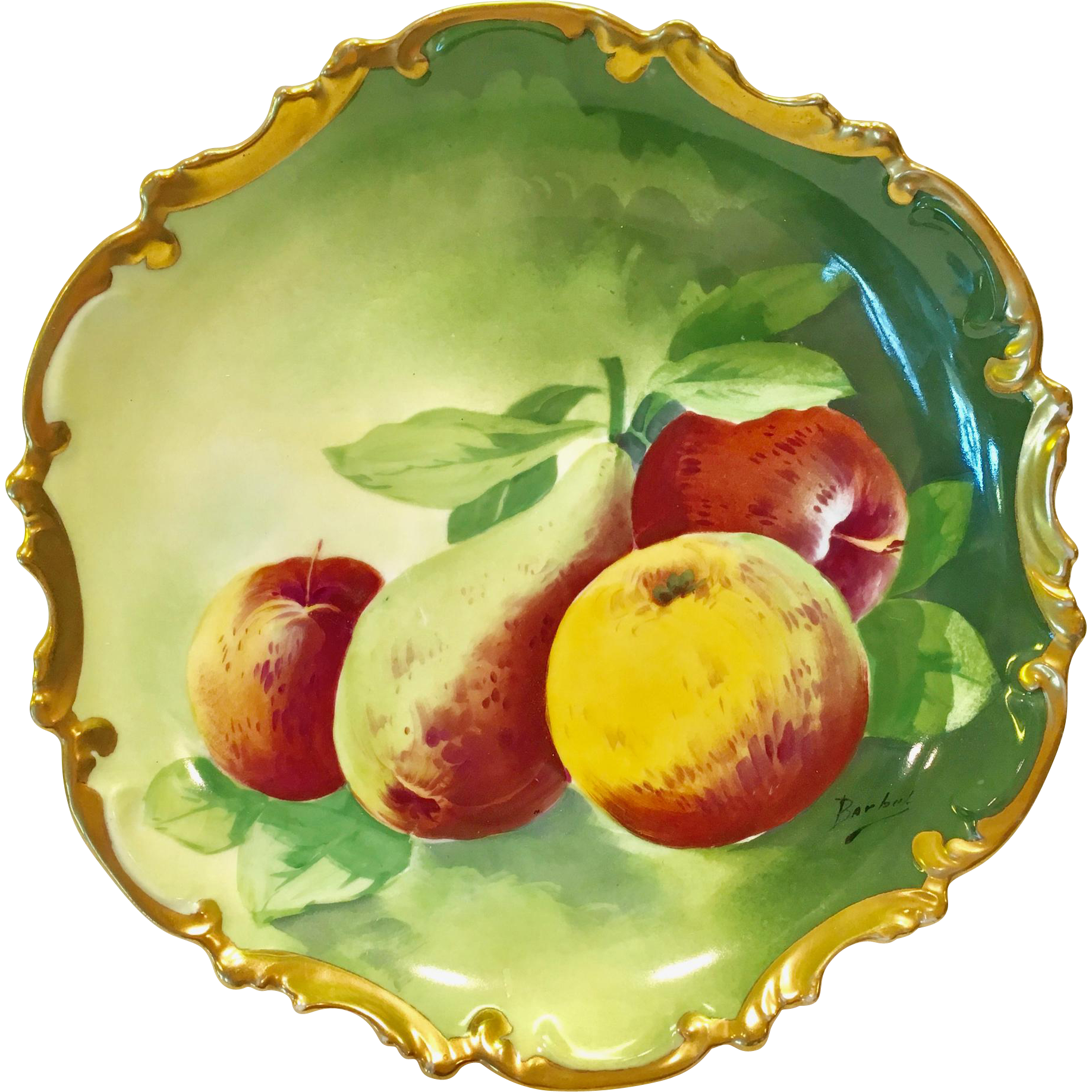 Coronet Limoges France Rococo Fruits Wall Charger Plate