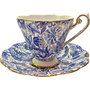 Royal Standard Bone China #1445 Cornflower Blue Paisley Chintz Teacup and Saucer
