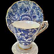 Royal Standard Bone China #1445 Royal Blue Paisley Chintz Teacup and Saucer