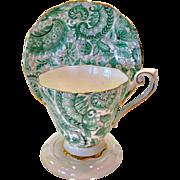 Royal Standard Bone China #1445 Green Paisley Chintz Teacup and Saucer