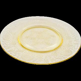 Florentine/Poppy No.2 Yellow Depression Glass Luncheon Plate Hazel-Atlas
