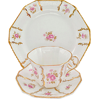 Royal Tara Bone China Ireland Pink Roses Gold Trim Cup Saucer Dessert Plate