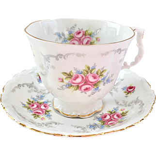 Royal Albert Bone China Tranquility Teacup and Saucer Pink Roses Gray Scrolls
