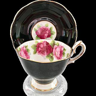 Royal Albert Bone China Old English Rose Black Teacup and Saucer