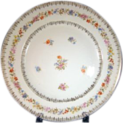 C.Tielsch Germany #20211 Gold Filigree and Floral Dinner Plates Early 1900s Set of Four