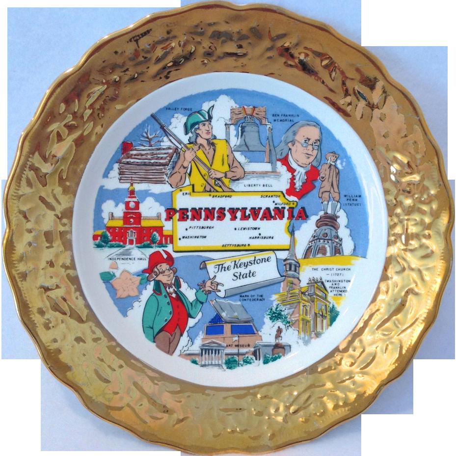 Pennsylvania State Souvenir Plate Gold Encrusted Rim Sabin's Industries Crown O' Gold Circa 1950s