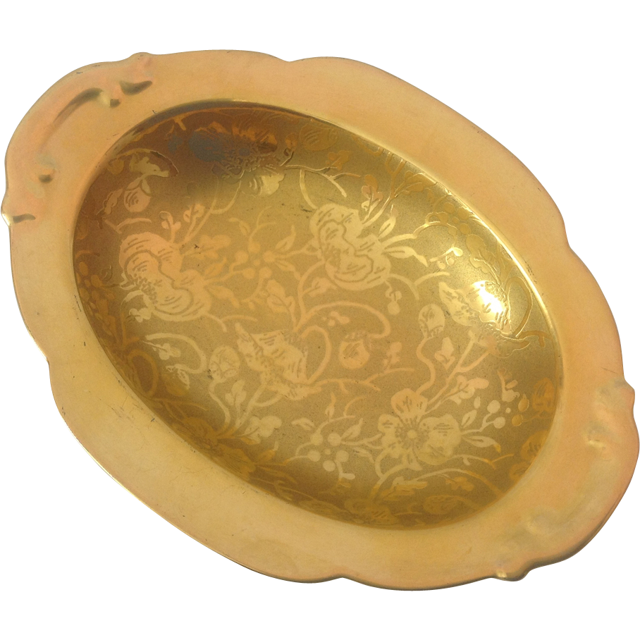 Circa 1930s Stouffer Poppy and Forget-Me-Not 24K Gold Encrusted Oval Dish