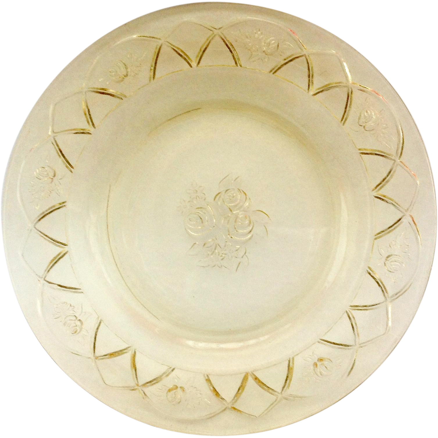 Federal Rosemary Dutch Rose Amber Depression Glass Salad Plate
