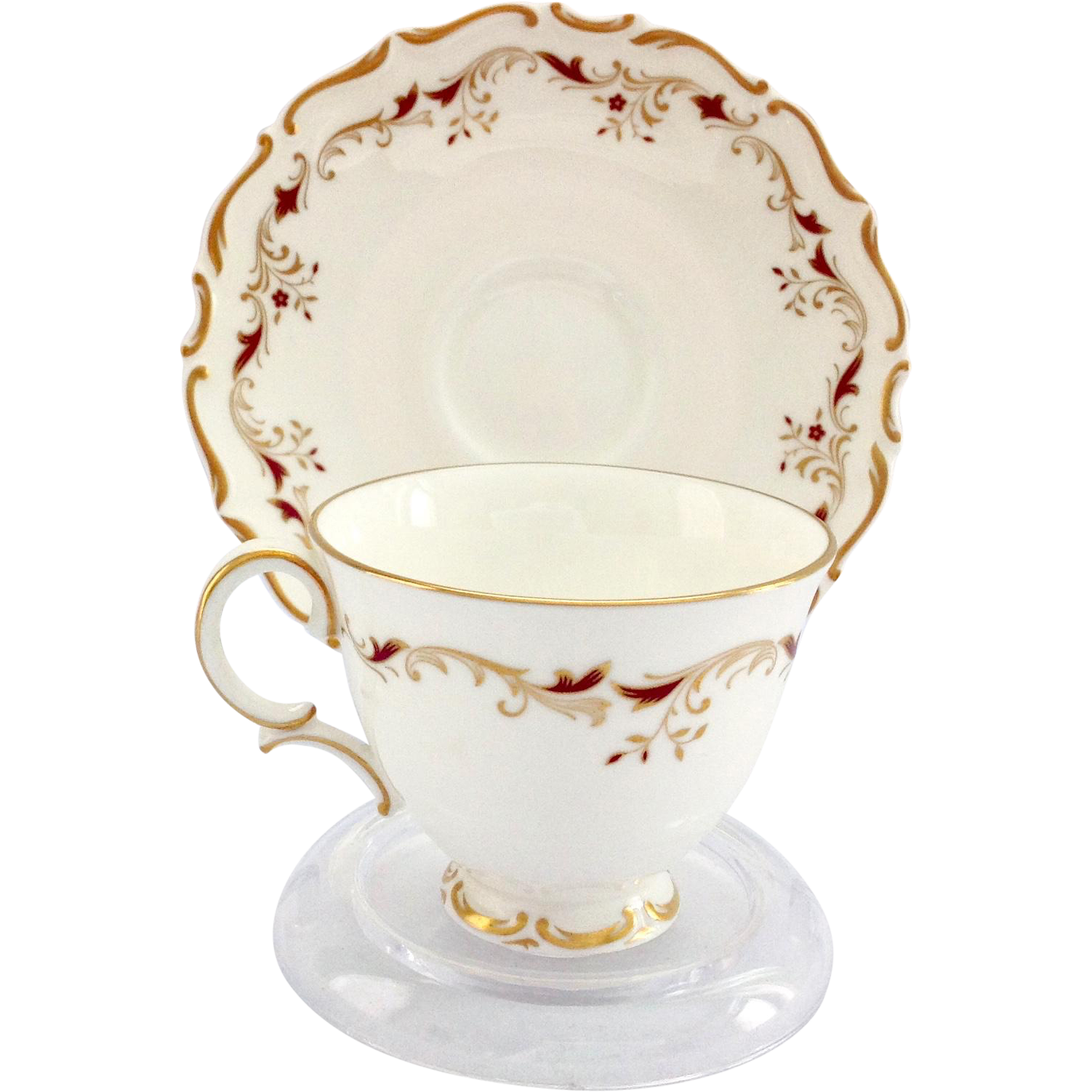 Royal Doulton Strasbourg Gold and Red Scrolls Bone China Demitasse Cup and Saucer