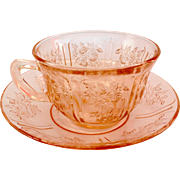 Federal Sharon Cabbage Rose Pink Depression Glass Cup and Saucer