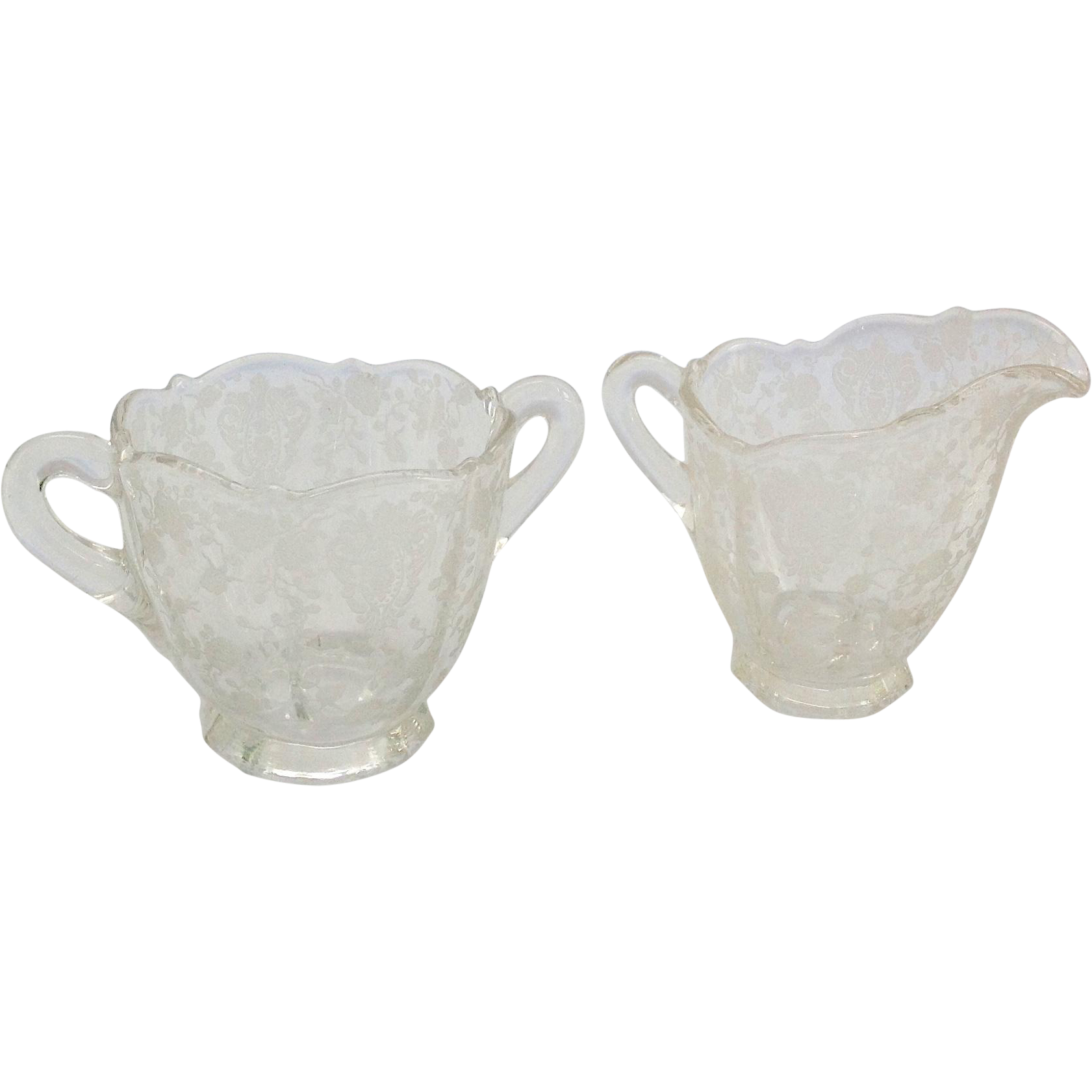 Cambridge Rose Point Elegant Glass Sugar and Creamer