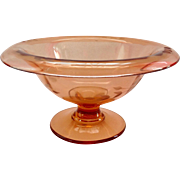 Wheel Cut Flower Deep Rose Pink Depression Era Pedestal Bowl