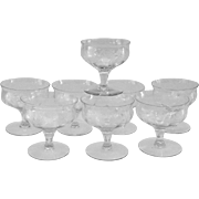 Central Glass Works/Tiffin Thistle No. 10 Etched Sherbets - Set of Eight