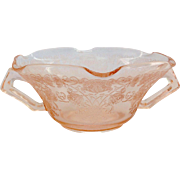 Hazel-Atlas Florentine Number 1 Poppy Pink Depression Glass Handled Cream Soup or Ruffled Nut Dish