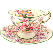 Hammersley England Bone China Bridal Rose Teacup and Saucer