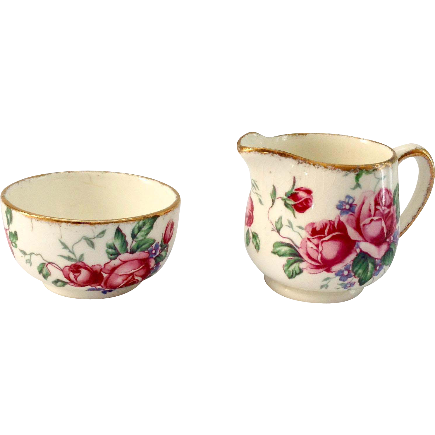 James Kent England Old Foley 4040 Roses Individual Sugar and Creamer