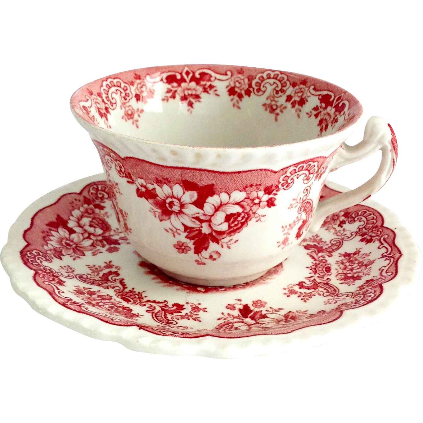 Bombay by John Maddock & Sons England Red Transferware Cup and Saucer