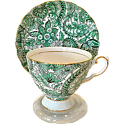 Royal Tuscan Bone China Green Paisley Chintz D3267 Teacup and Saucer
