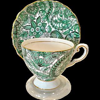 Royal Tuscan Bone China Green Paisley Chintz D3267 Teacup and Saucer