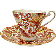 Royal Standard Bone China #1445 Rust Brown Paisley Chintz Teacup and Saucer