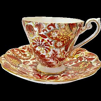 Royal Standard Bone China #1445 Rust Brown Paisley Chintz Teacup and Saucer