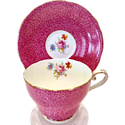 Aynsley Bone China Pink Sponge Effect Floral C171 Teacup and Saucer