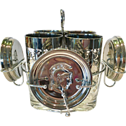 Kimiko Guardian Crest Silver Spartan Highball and Coaster Mid Century Barware Set