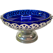 Metal Filigree Compote with Cobalt Blue Glass Liner