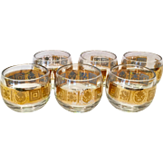 Culver Glass Coronet Small Roly Poly Cocktail Tumblers Set of Six