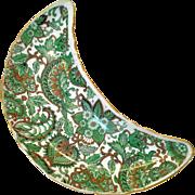 Royal Paisley Chintz green Crescent Salad Plate Arnart Creations