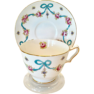 Crown Staffordshire England Enameled Blue Bow #F4547 Bone China Teacup and Saucer