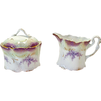 Weimar Germany Purple Aster Flowers Creamer and Covered Sugar with Brushed Gold Circa 1905