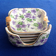 Lefton Violet Chintz Ashtray Set with Caddy