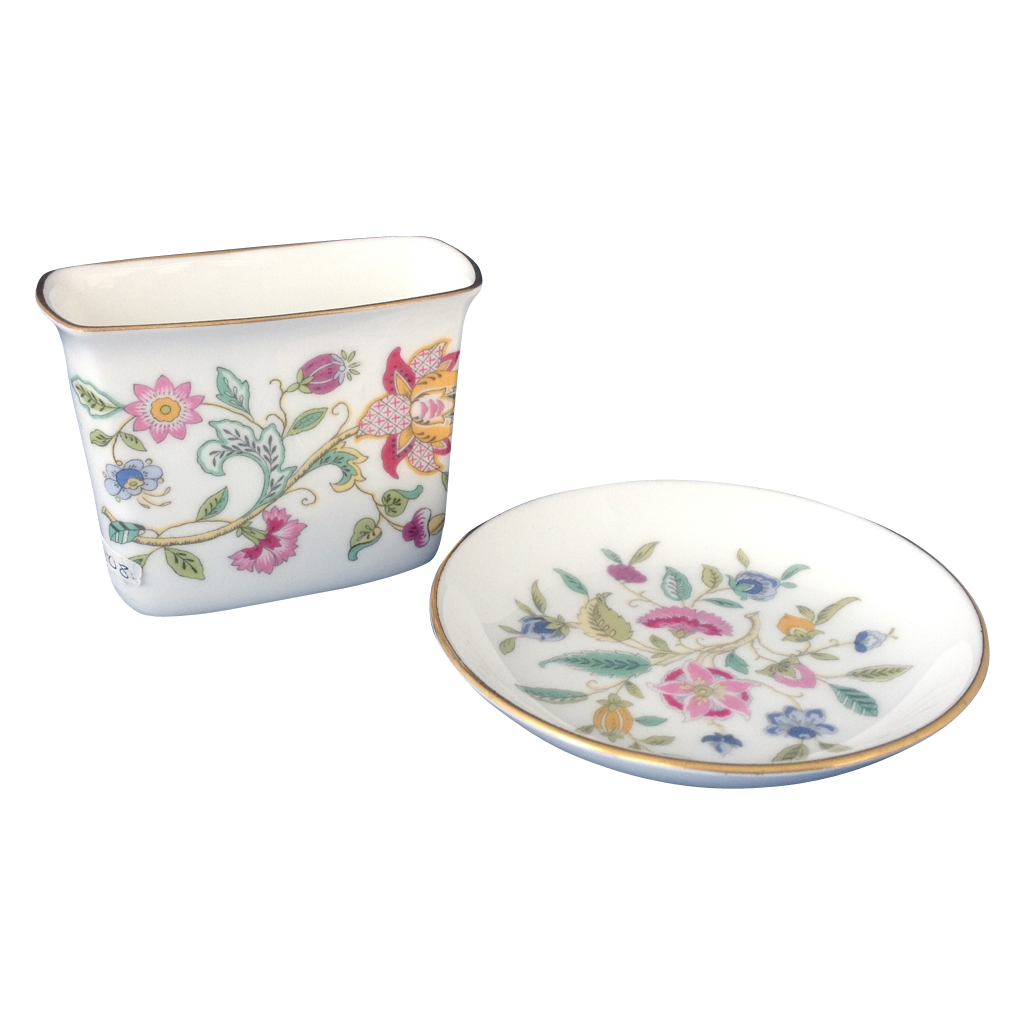 Minton Bone China Haddon Hall Cigarette Holder and Ashtray Set