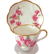 Salisbury England 1950s Bone China Pink Sweet Pea Tea Cup and Saucer