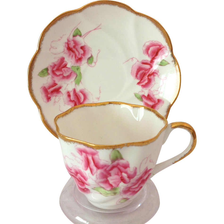 Salisbury Bone China Staffordshire, England Pink Sweet Pea Teacup and Saucer 1950s