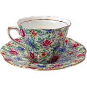 Rosina Chintz English Bone China Blue and Pink Flowers 5042 Teacup and Saucer