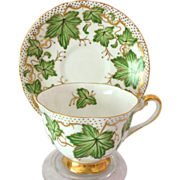Royal Chelsea 426A English Bone China 1940s Ivy Teacup and Saucer
