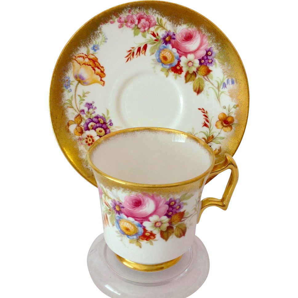 Royal Chelsea Bone China 5007A Gold and Floral Cabinet Teacup and Saucer